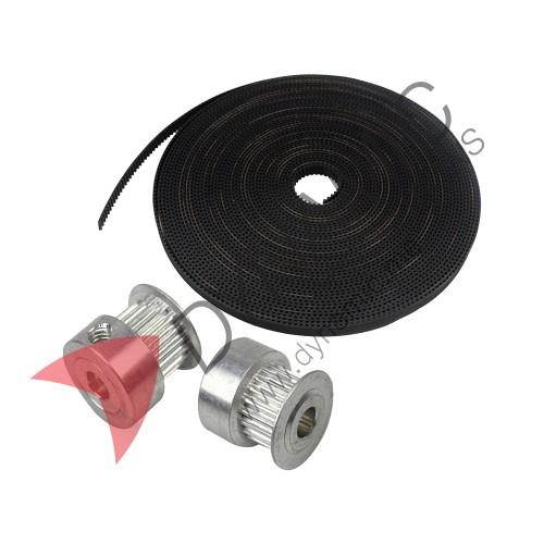 Timing Pulley(5mm) + 2 Meters Belt(6mm) GT2
