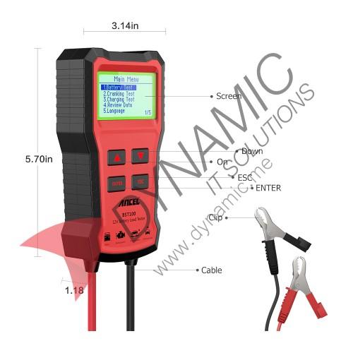 Ancel BST100 Car Battery Tester Charger 12V Charging Cranking