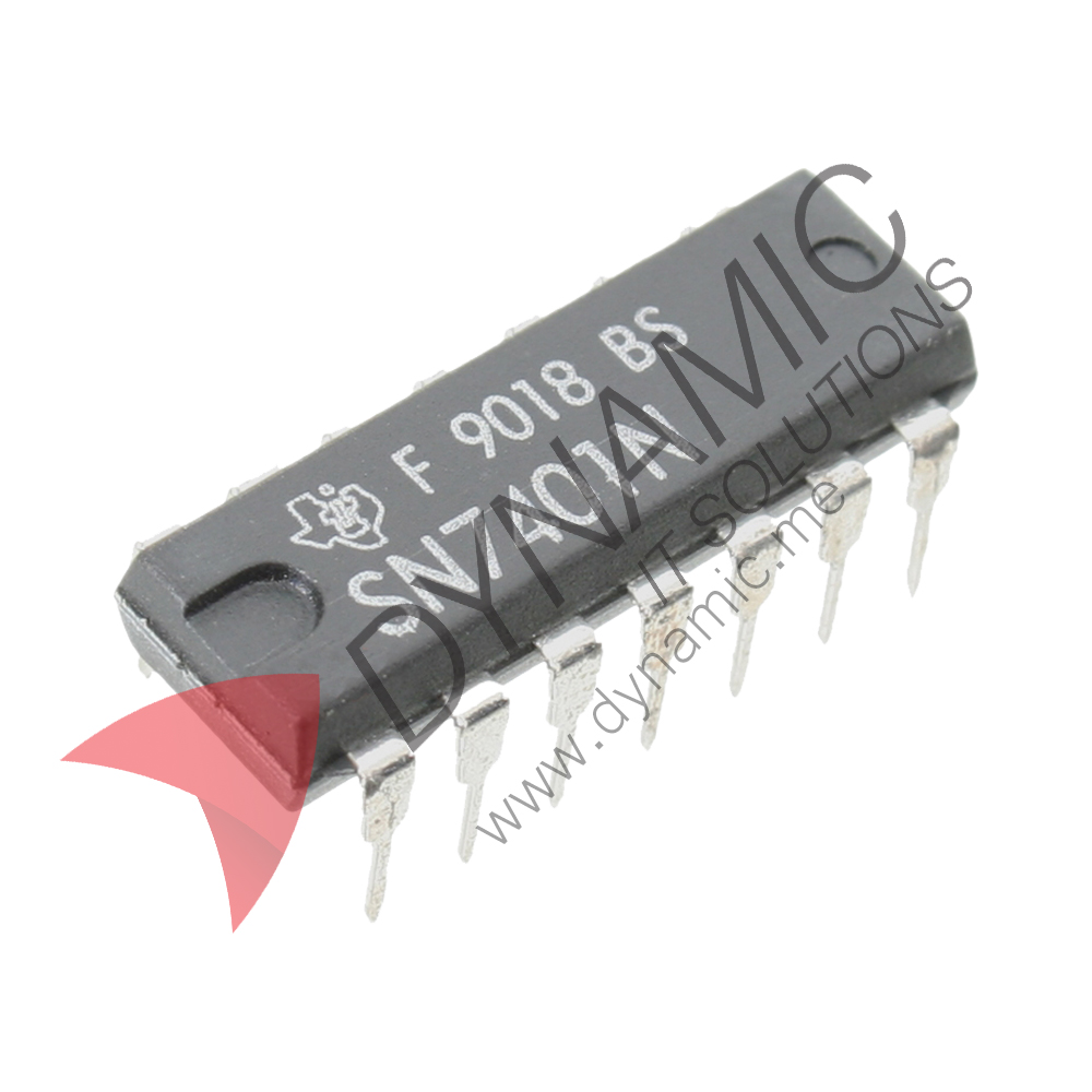 dynamic ic 7401 quad 2 input nand gate open collector